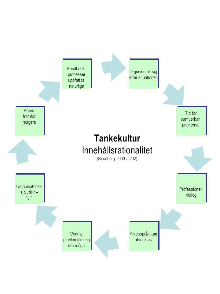 Tankekultur Innehållsrationalitet (Svedberg 2003 s 202)