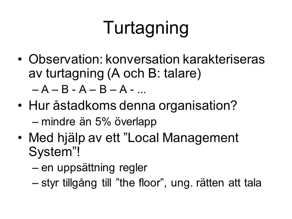 Turtagning •Observation: konversation karakteriseras av turtagning (A och B: talare) –A – B - A – B – A -... •Hur åstadkoms denna organisation? –mindr