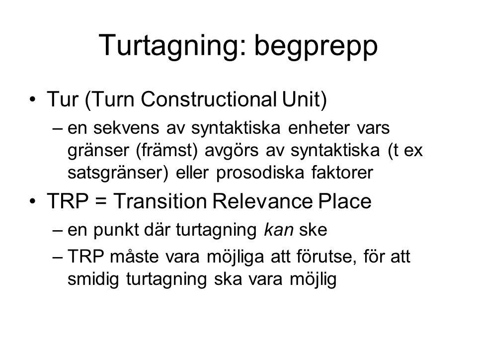 Turtagning: begprepp •Tur (Turn Constructional Unit) –en sekvens av syntaktiska enheter vars gränser (främst) avgörs av syntaktiska (t ex satsgränser)