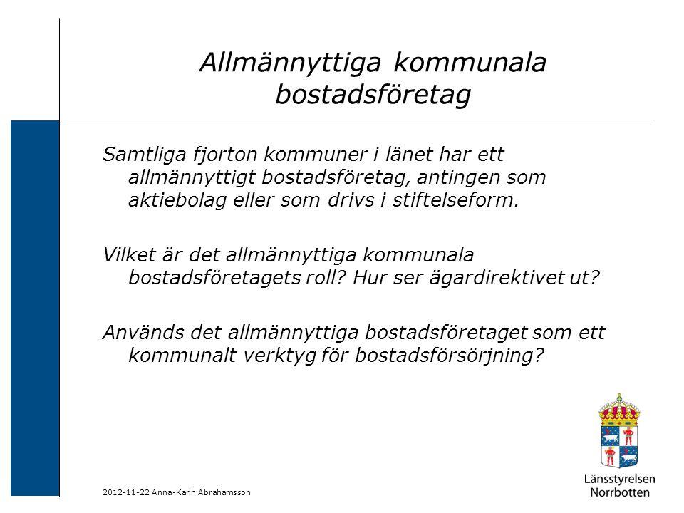 2012-11-22 Anna-Karin Abrahamsson Allmännyttiga kommunala bostadsföretag Samtliga fjorton kommuner i länet har ett allmännyttigt bostadsföretag, antin
