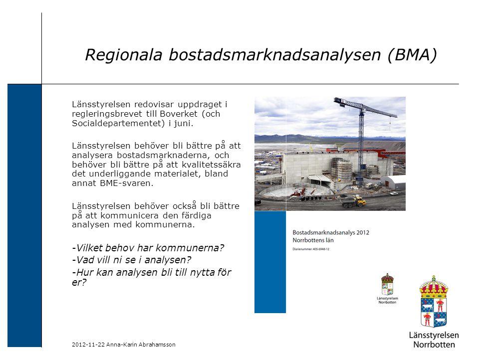 2012-11-22 Anna-Karin Abrahamsson Regionala bostadsmarknadsanalysen (BMA) Länsstyrelsen redovisar uppdraget i regleringsbrevet till Boverket (och Soci