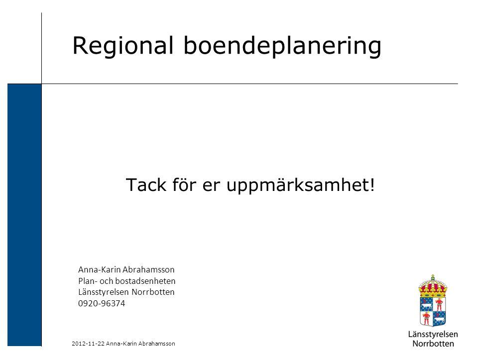 2012-11-22 Anna-Karin Abrahamsson Regional boendeplanering Tack för er uppmärksamhet! Anna-Karin Abrahamsson Plan- och bostadsenheten Länsstyrelsen No