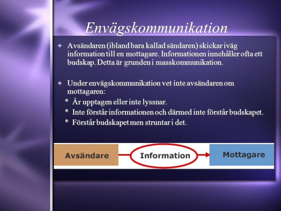 Envägskommunikation  Avsändaren (ibland bara kallad sändaren) skickar iväg information till en mottagare. Informationen innehåller ofta ett budskap.