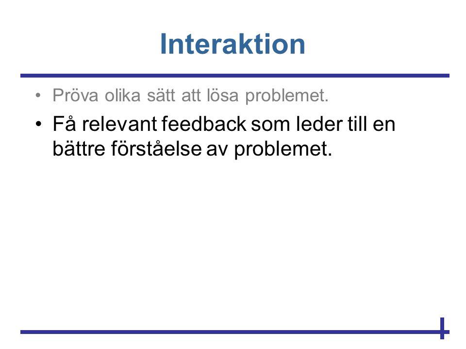 Interaktion •Pröva olika sätt att lösa problemet. •Få relevant feedback som leder till en bättre förståelse av problemet.