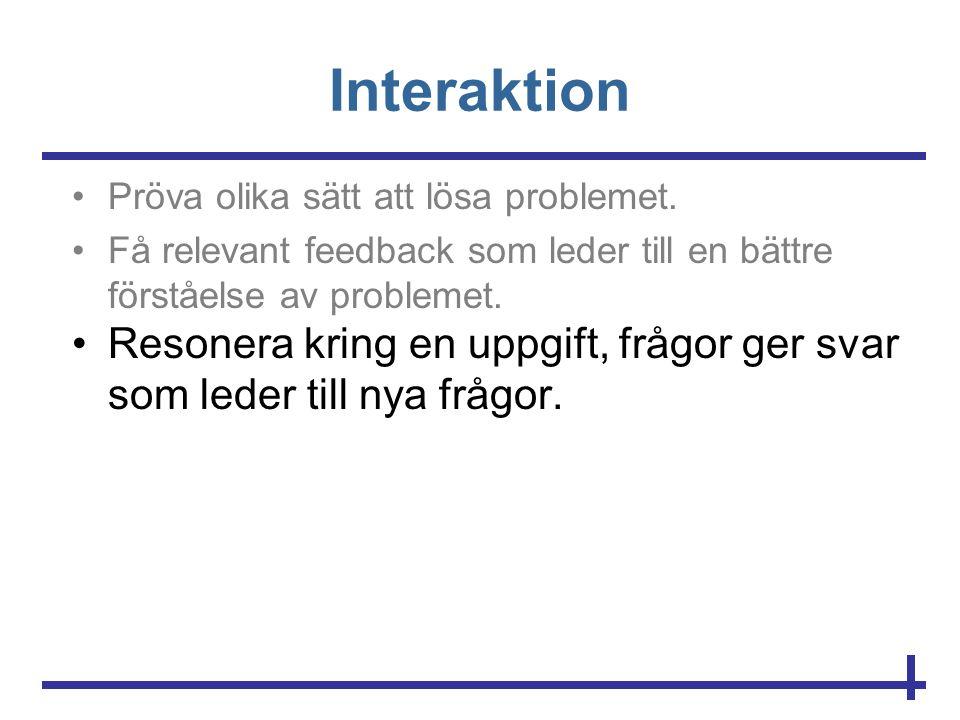 Interaktion •Pröva olika sätt att lösa problemet. •Få relevant feedback som leder till en bättre förståelse av problemet. •Resonera kring en uppgift,