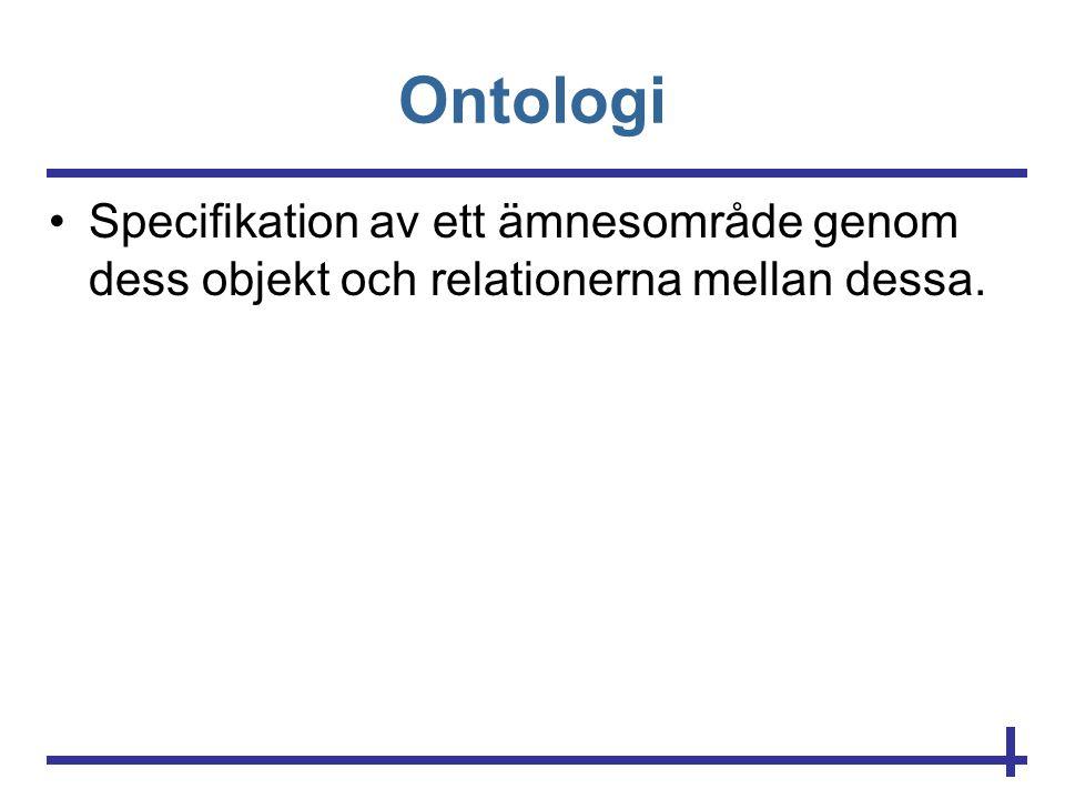Ontologi •Specifikation av ett ämnesområde genom dess objekt och relationerna mellan dessa.