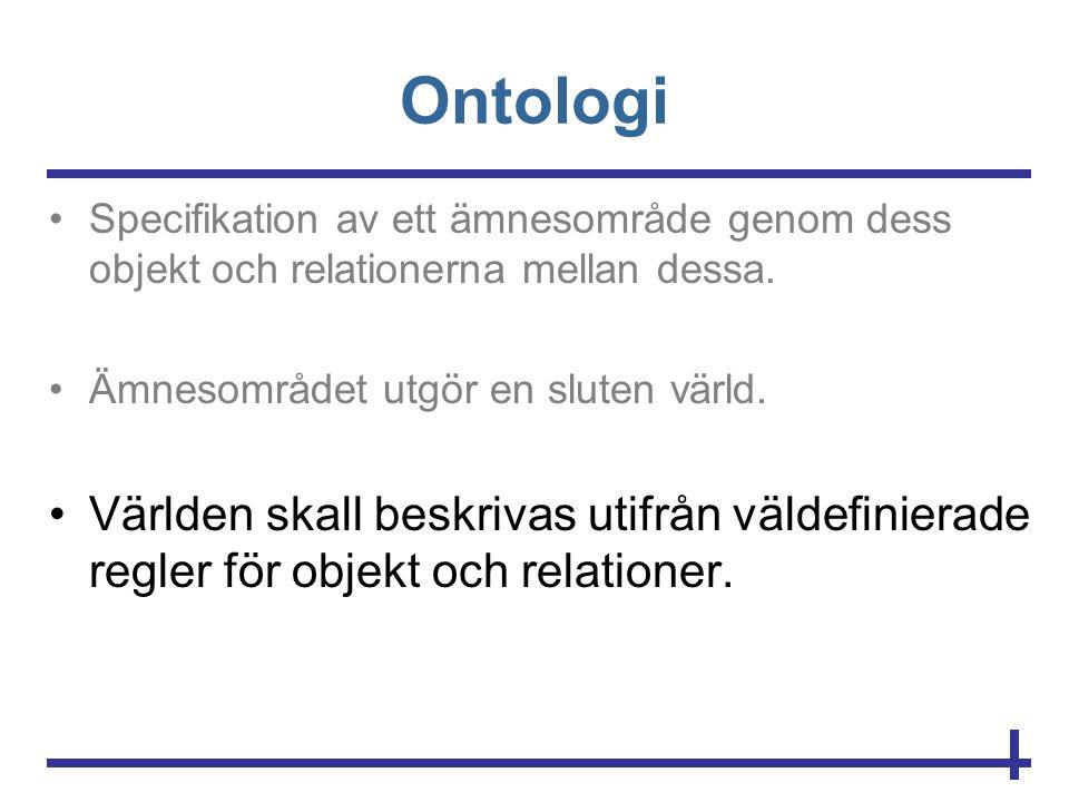 Ontologi •Specifikation av ett ämnesområde genom dess objekt och relationerna mellan dessa. •Ämnesområdet utgör en sluten värld. •Världen skall beskri