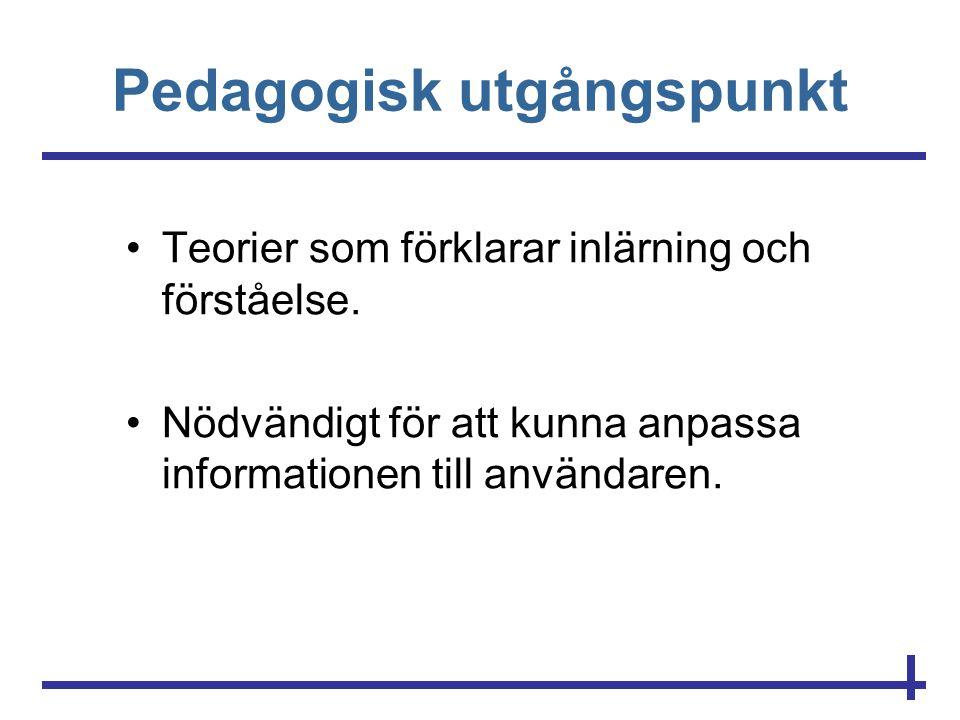 Pedagogisk utgångspunkt •Teorier som förklarar inlärning och förståelse. •Nödvändigt för att kunna anpassa informationen till användaren.