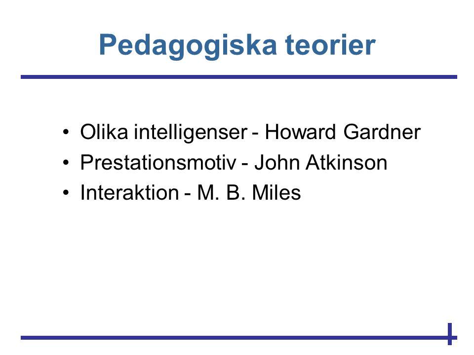 Pedagogiska teorier •Olika intelligenser - Howard Gardner •Prestationsmotiv - John Atkinson •Interaktion - M. B. Miles