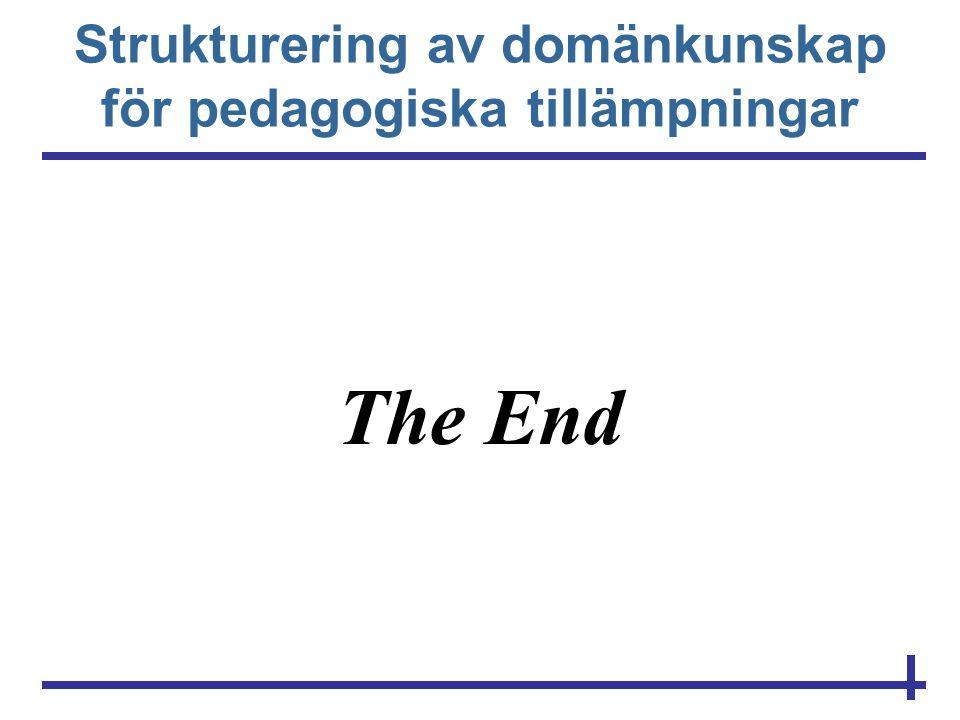 Strukturering av domänkunskap för pedagogiska tillämpningar The End