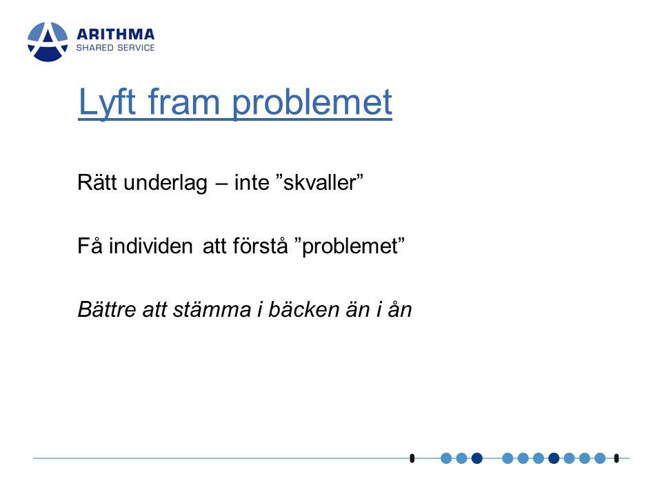 """Rätt underlag – inte """"skvaller"""" Få individen att förstå """"problemet"""" Bättre att stämma i bäcken än i ån Lyft fram problemet"""