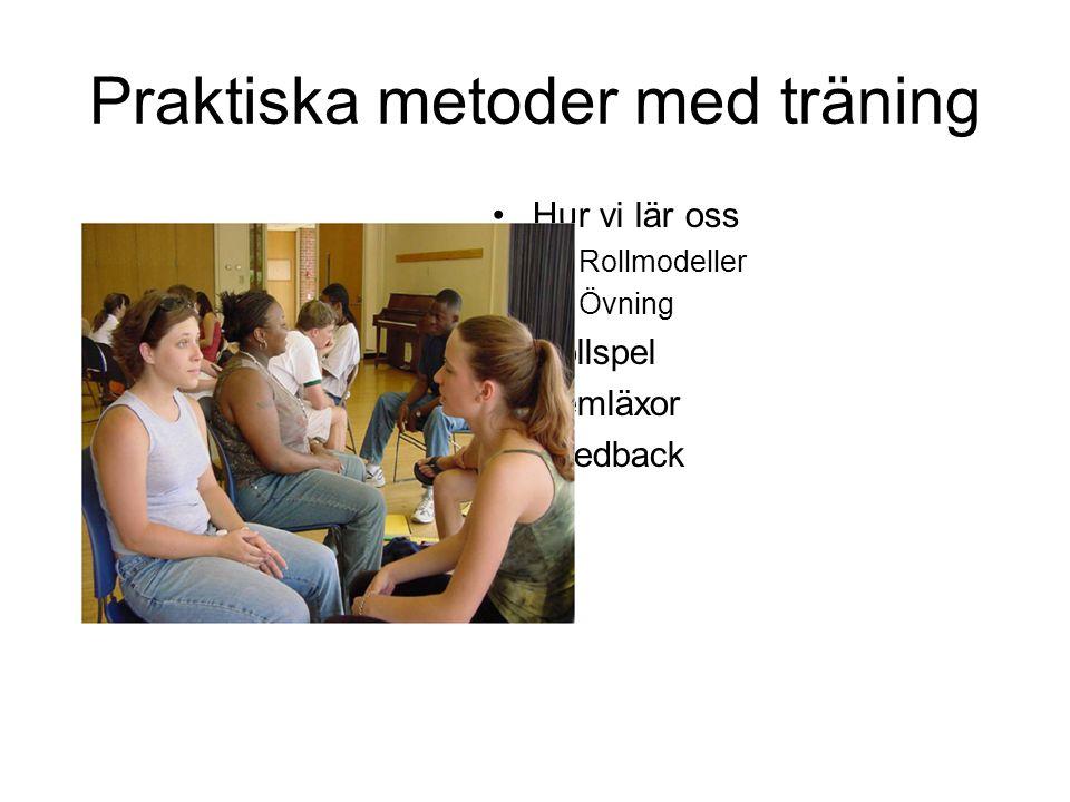 Praktiska metoder med träning •Hur vi lär oss –Rollmodeller –Övning •Rollspel •Hemläxor •Feedback
