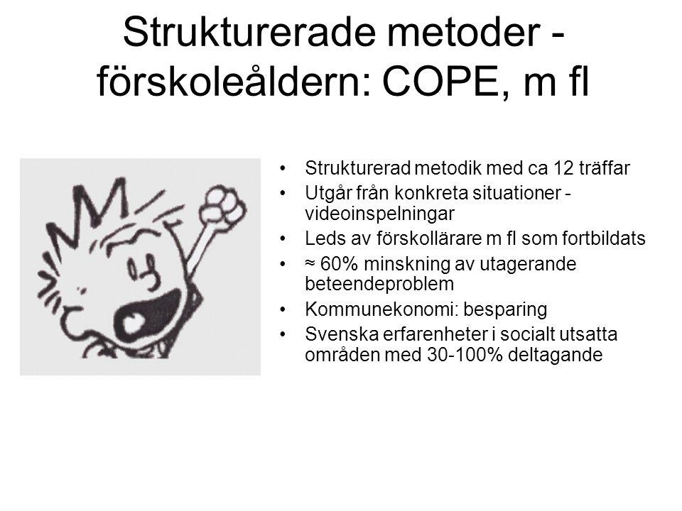 Strukturerade metoder - förskoleåldern: COPE, m fl •Strukturerad metodik med ca 12 träffar •Utgår från konkreta situationer - videoinspelningar •Leds