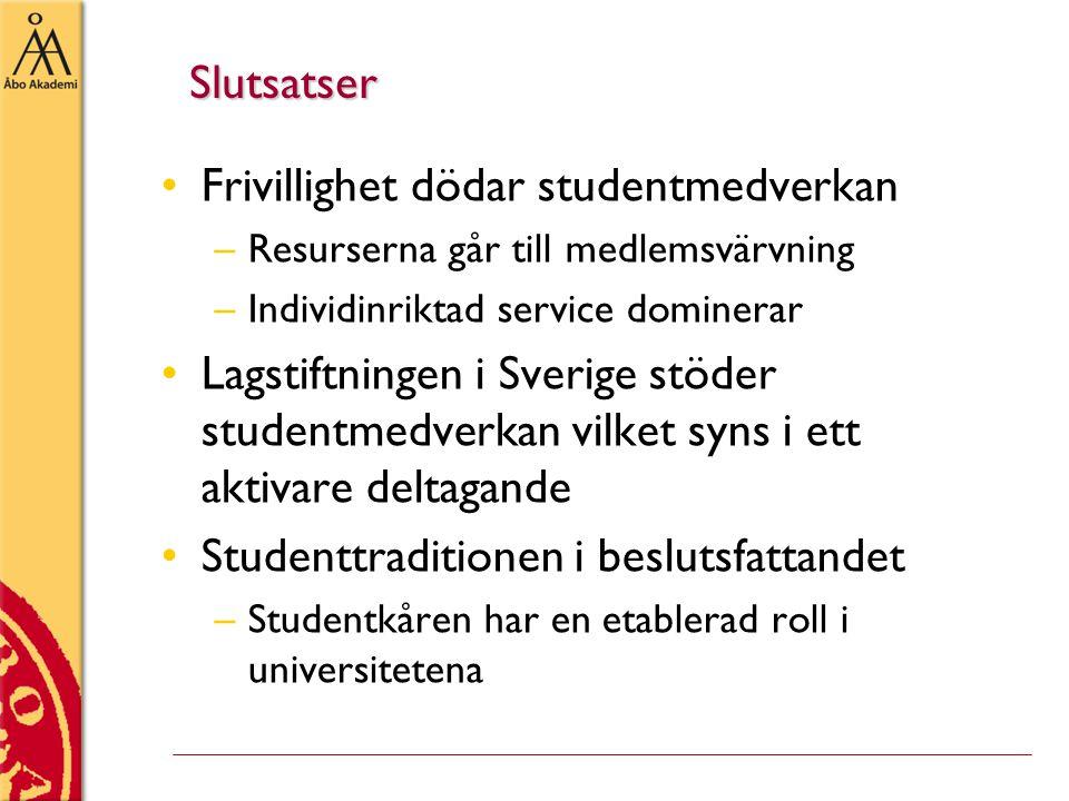 Slutsatser •Frivillighet dödar studentmedverkan –Resurserna går till medlemsvärvning –Individinriktad service dominerar •Lagstiftningen i Sverige stöder studentmedverkan vilket syns i ett aktivare deltagande •Studenttraditionen i beslutsfattandet –Studentkåren har en etablerad roll i universitetena