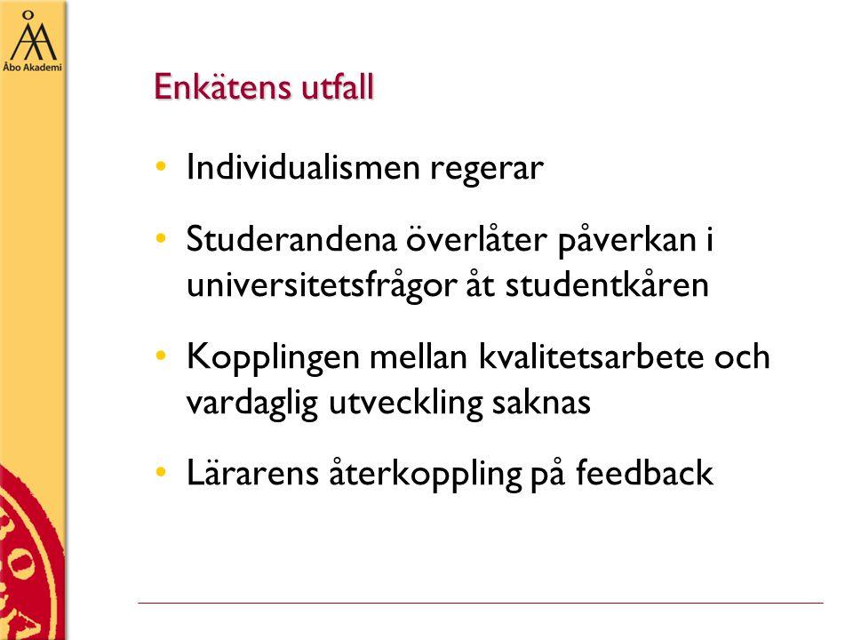 Enkätens utfall •Individualismen regerar •Studerandena överlåter påverkan i universitetsfrågor åt studentkåren •Kopplingen mellan kvalitetsarbete och vardaglig utveckling saknas •Lärarens återkoppling på feedback