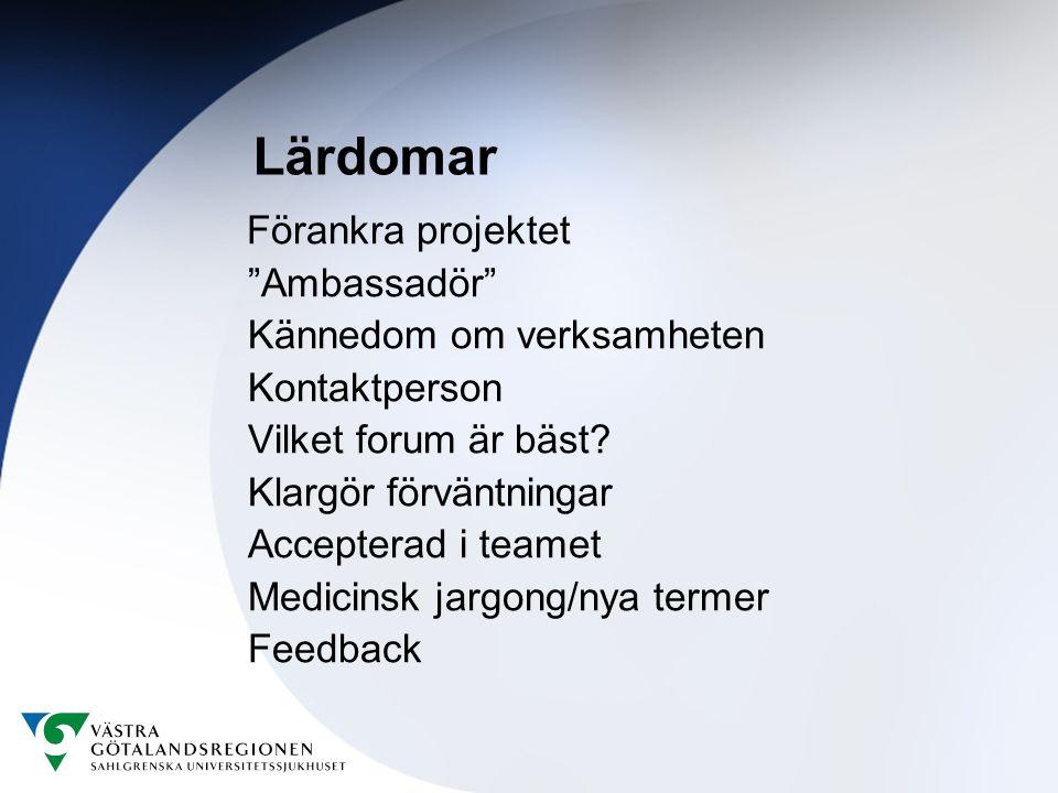 Lärdomar Förankra projektet Ambassadör Kännedom om verksamheten Kontaktperson Vilket forum är bäst.