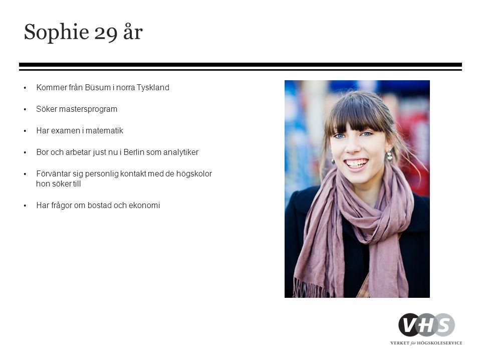 Sophie 29 år • Kommer från Büsum i norra Tyskland • Söker mastersprogram • Har examen i matematik • Bor och arbetar just nu i Berlin som analytiker •