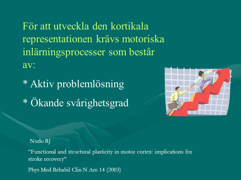 För att utveckla den kortikala representationen krävs motoriska inlärningsprocesser som består av: * Aktiv problemlösning * Ökande svårighetsgrad BCS