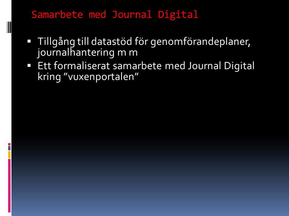  Tillgång till datastöd för genomförandeplaner, journalhantering m m  Ett formaliserat samarbete med Journal Digital kring vuxenportalen Samarbete med Journal Digital