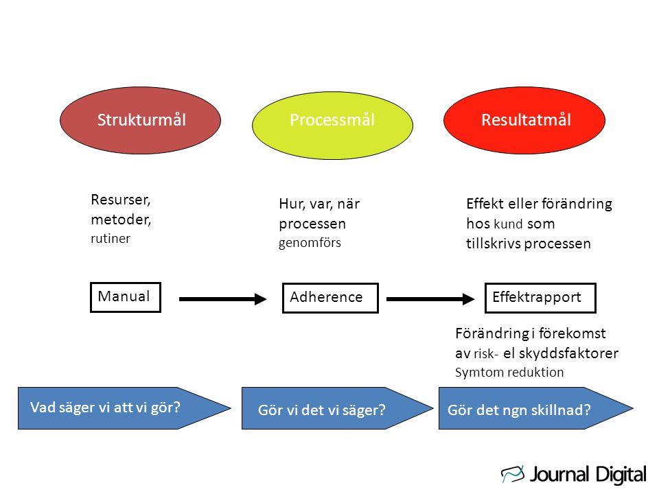 StrukturmålProcessmålResultatmål Resurser, metoder, rutiner Hur, var, när processen genomförs Effekt eller förändring hos kund som tillskrivs processen Manual AdherenceEffektrapport Vad säger vi att vi gör.