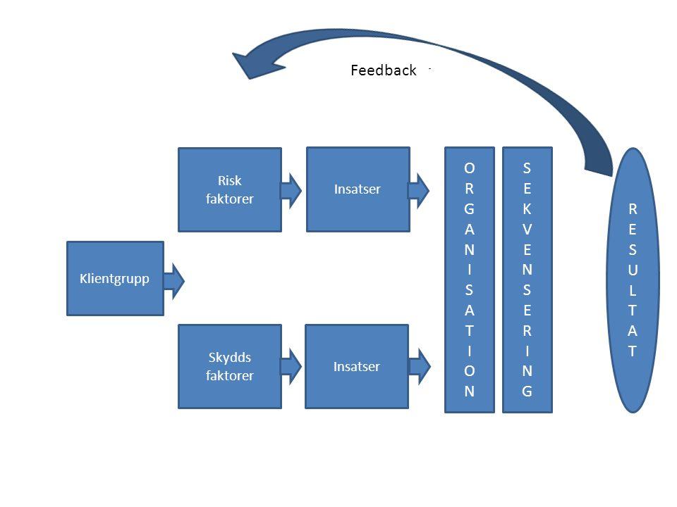 KLIENT - GRUPP Klientgrupp Risk faktorer Skydds faktorer Insatser ORGANISATIONORGANISATION SEKVENSERINGSEKVENSERING Feedback RESULTATRESULTAT