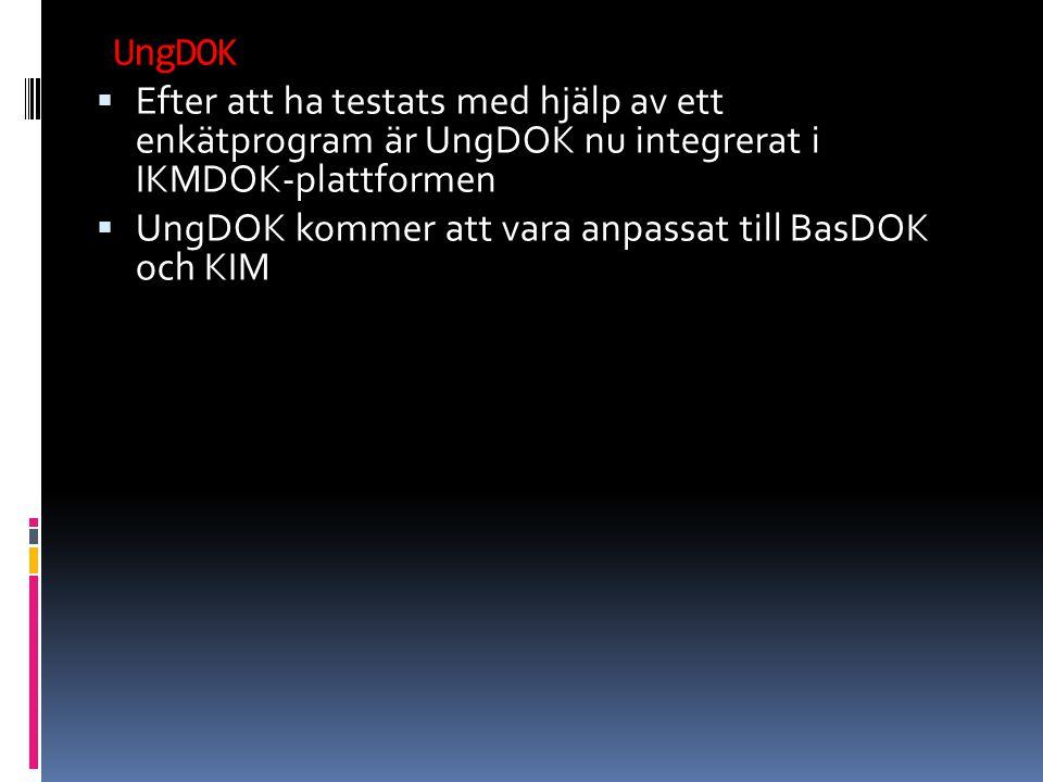 Efter att ha testats med hjälp av ett enkätprogram är UngDOK nu integrerat i IKMDOK-plattformen  UngDOK kommer att vara anpassat till BasDOK och KIM UngDOK