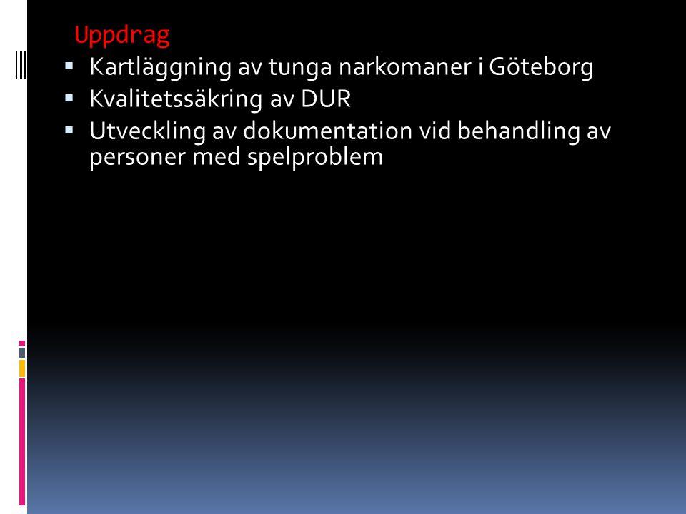  Kartläggning av tunga narkomaner i Göteborg  Kvalitetssäkring av DUR  Utveckling av dokumentation vid behandling av personer med spelproblem Uppdrag