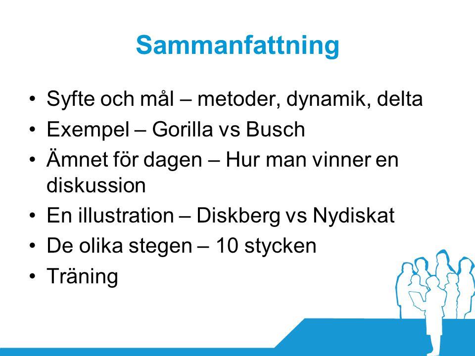 Sammanfattning •Syfte och mål – metoder, dynamik, delta •Exempel – Gorilla vs Busch •Ämnet för dagen – Hur man vinner en diskussion •En illustration –