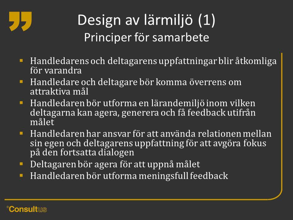 """"""" Design av lärmiljö (1) Principer för samarbete  Handledarens och deltagarens uppfattningar blir åtkomliga för varandra  Handledare och deltagare b"""