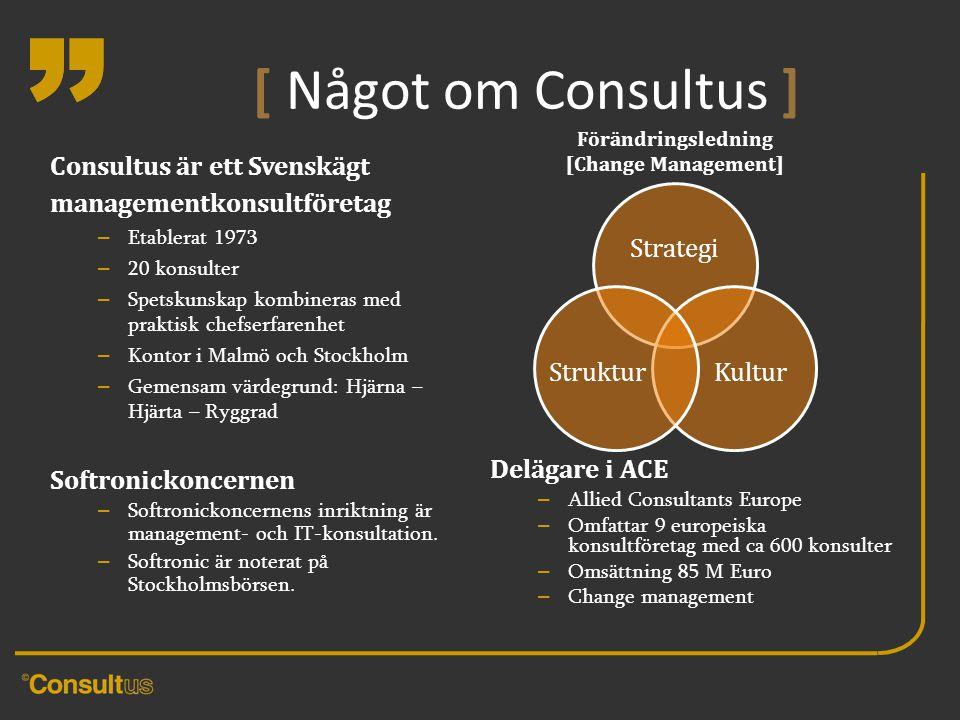 """"""" [ Något om Consultus ] Consultus är ett Svenskägt managementkonsultföretag – Etablerat 1973 – 20 konsulter – Spetskunskap kombineras med praktisk ch"""