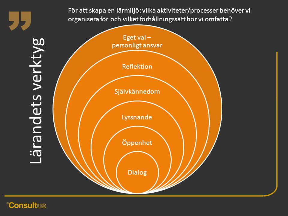 """"""" Lärandets verktyg För att skapa en lärmiljö: vilka aktiviteter/processer behöver vi organisera för och vilket förhållningssätt bör vi omfatta?"""