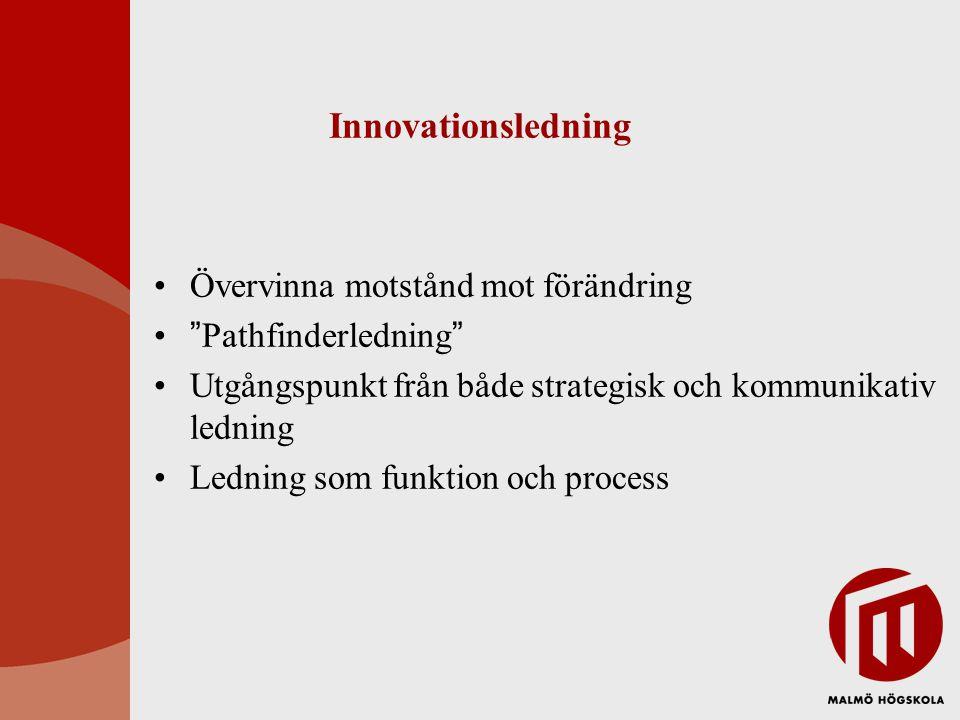 """Innovationsledning •Övervinna motstånd mot förändring •""""Pathfinderledning"""" •Utgångspunkt från både strategisk och kommunikativ ledning •Ledning som fu"""