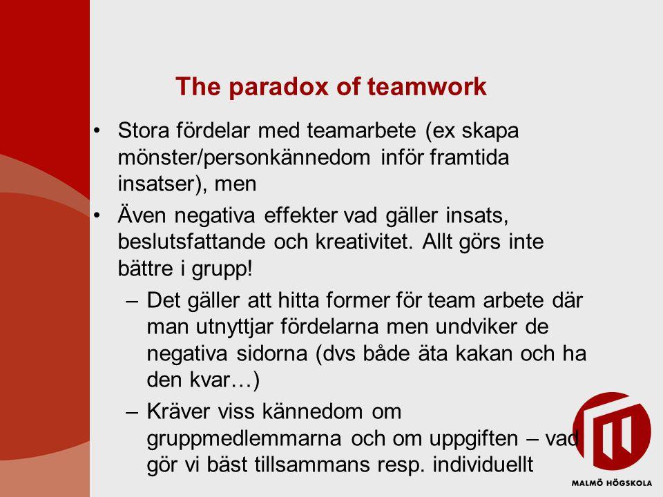 The paradox of teamwork •Stora fördelar med teamarbete (ex skapa mönster/personkännedom inför framtida insatser), men •Även negativa effekter vad gäll