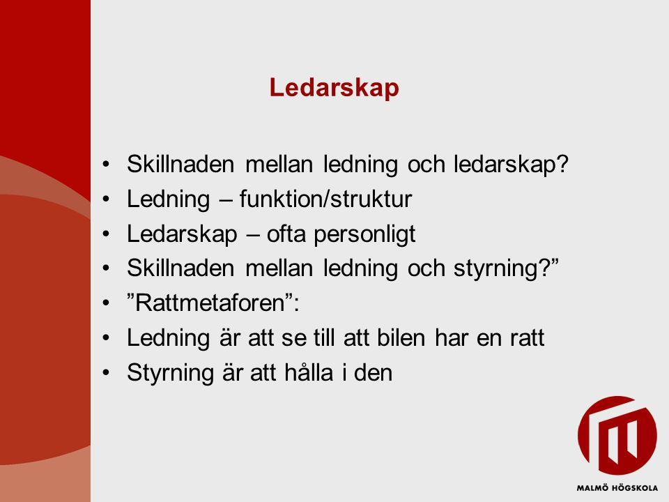 Ledarskap •Skillnaden mellan ledning och ledarskap? •Ledning – funktion/struktur •Ledarskap – ofta personligt •Skillnaden mellan ledning och styrning?