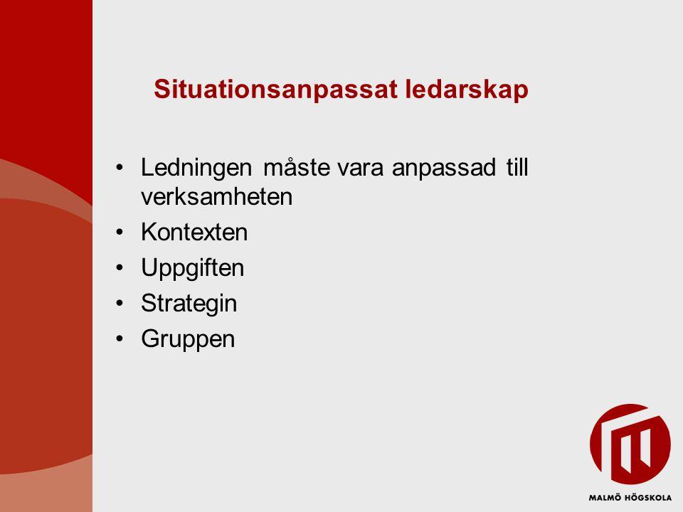 Situationsanpassat ledarskap •Ledningen måste vara anpassad till verksamheten •Kontexten •Uppgiften •Strategin •Gruppen