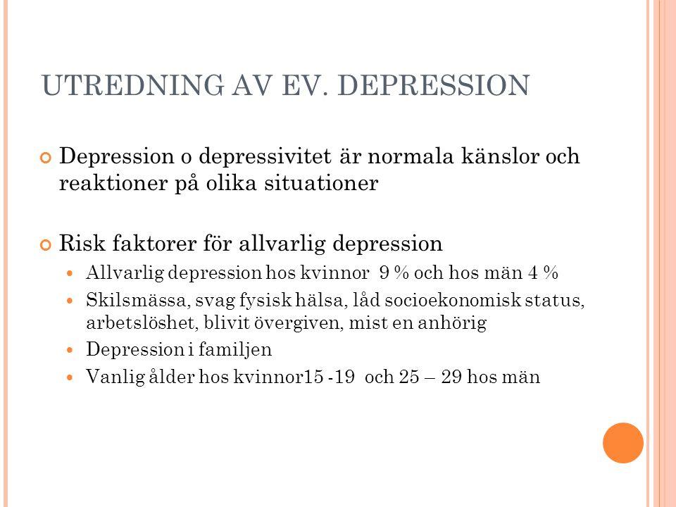 UTREDNING AV EV. DEPRESSION Depression o depressivitet är normala känslor och reaktioner på olika situationer Risk faktorer för allvarlig depression 