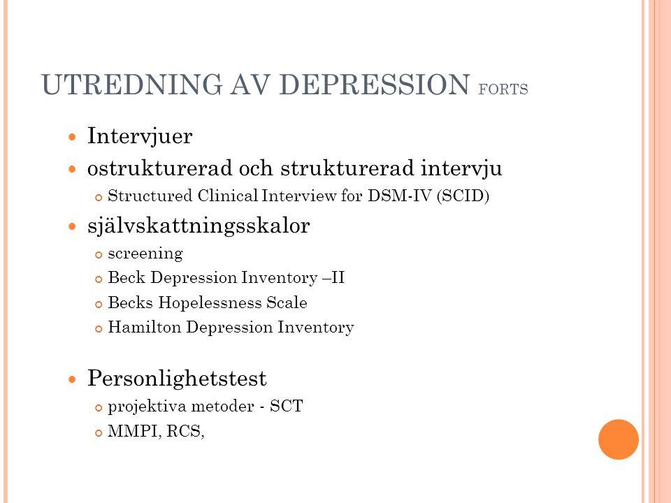UTREDNING AV DEPRESSION FORTS  Intervjuer  ostrukturerad och strukturerad intervju Structured Clinical Interview for DSM-IV (SCID)   självskattnin