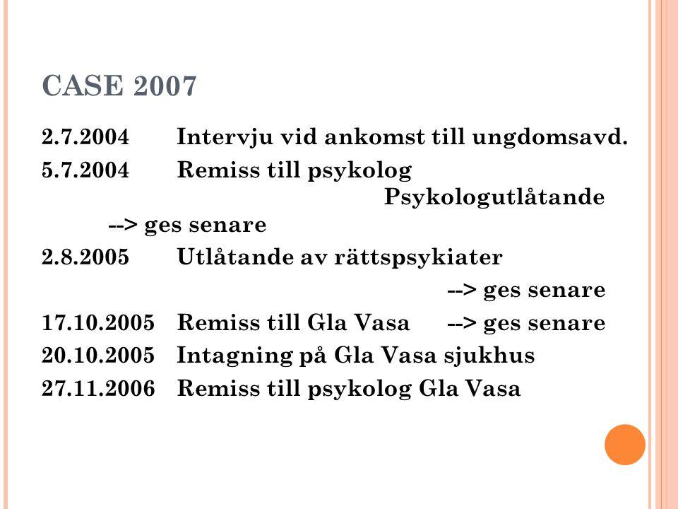 CASE 2007 2.7.2004Intervju vid ankomst till ungdomsavd. 5.7.2004 Remiss till psykolog Psykologutlåtande --> ges senare 2.8.2005 Utlåtande av rättspsyk