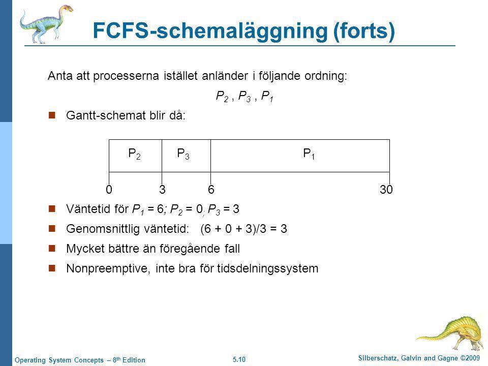 5.10 Silberschatz, Galvin and Gagne ©2009 Operating System Concepts – 8 th Edition FCFS-schemaläggning (forts) Anta att processerna istället anländer