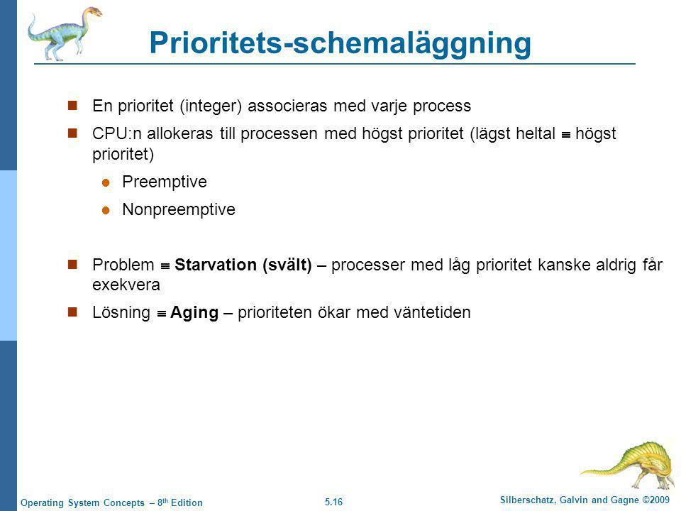 5.16 Silberschatz, Galvin and Gagne ©2009 Operating System Concepts – 8 th Edition Prioritets-schemaläggning  En prioritet (integer) associeras med v