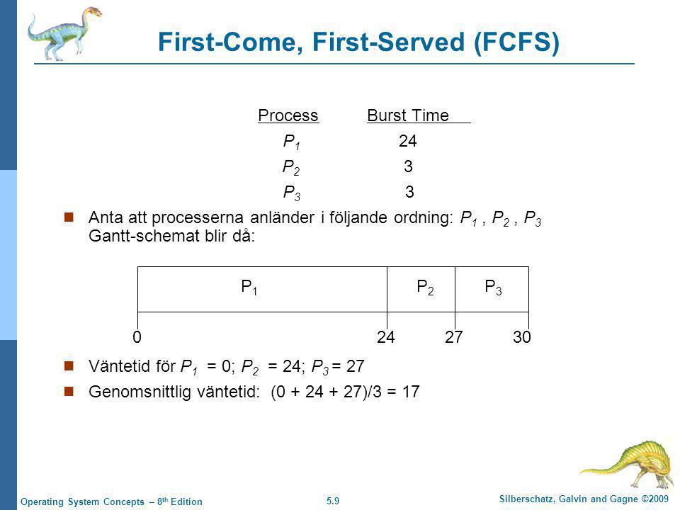 5.9 Silberschatz, Galvin and Gagne ©2009 Operating System Concepts – 8 th Edition First-Come, First-Served (FCFS) ProcessBurst Time P 1 24 P 2 3 P 3 3  Anta att processerna anländer i följande ordning: P 1, P 2, P 3 Gantt-schemat blir då:  Väntetid för P 1 = 0; P 2 = 24; P 3 = 27  Genomsnittlig väntetid: (0 + 24 + 27)/3 = 17 P1P1 P2P2 P3P3 2427300