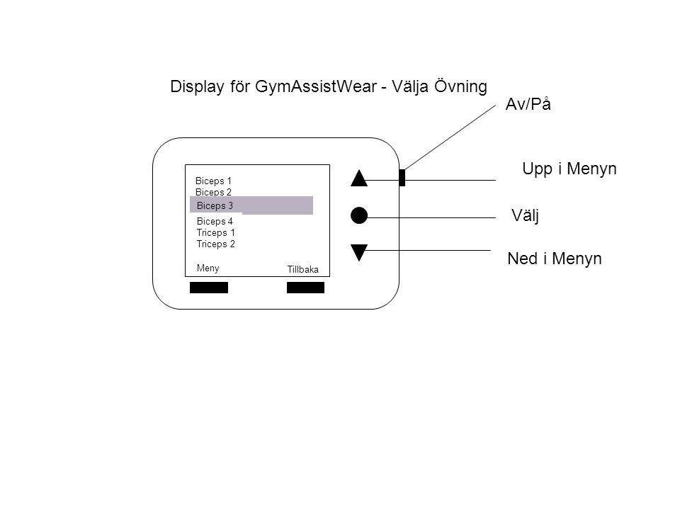 Display för GymAssistWear - Välja Övning Välj Av/På Upp i Menyn Ned i Menyn Meny Tillbaka Biceps 1 Biceps 2 Biceps 3 Biceps 4 Triceps 1 Triceps 2