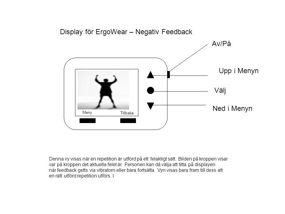 Display för ErgoWear – Negativ Feedback Välj Av/På Upp i Menyn Ned i Menyn Meny Tillbaka Denna vy visas när en repetition är utförd på ett felaktigt sätt.