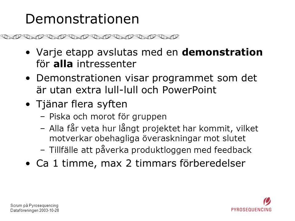 Scrum på Pyrosequencing Dataföreningen 2003-10-28 Demonstrationen •Varje etapp avslutas med en demonstration för alla intressenter •Demonstrationen vi