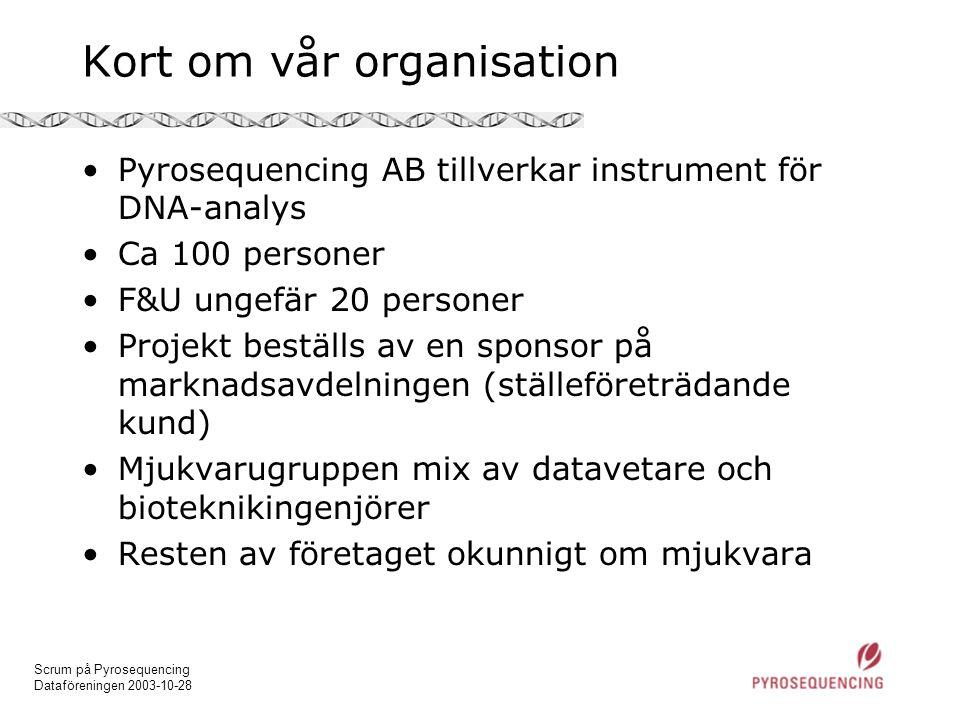 Scrum på Pyrosequencing Dataföreningen 2003-10-28 Kort om vår organisation •Pyrosequencing AB tillverkar instrument för DNA-analys •Ca 100 personer •F