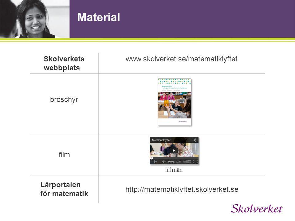 Material Skolverkets webbplats www.skolverket.se/matematiklyftet broschyr film Lärportalen för matematik http://matematiklyftet.skolverket.se allmän
