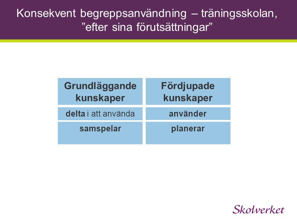"""Konsekvent begreppsanvändning – träningsskolan, """"efter sina förutsättningar"""" Grundläggande kunskaper Fördjupade kunskaper delta i att användaanvänder"""