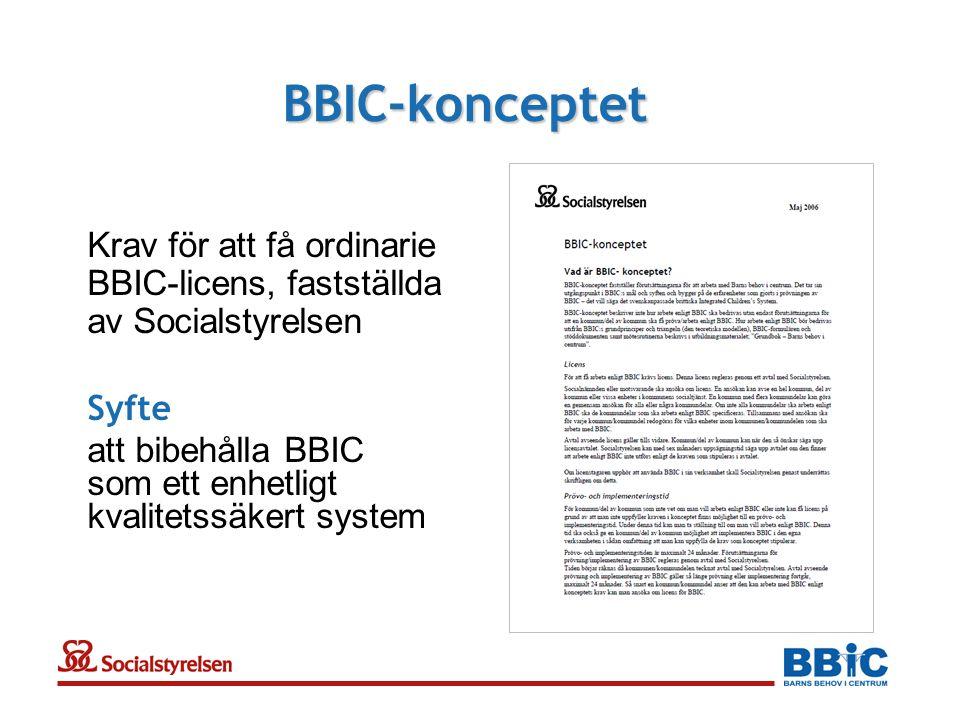 BBIC-konceptet Krav för att få ordinarie BBIC-licens, fastställda av Socialstyrelsen Syfte att bibehålla BBIC som ett enhetligt kvalitetssäkert system