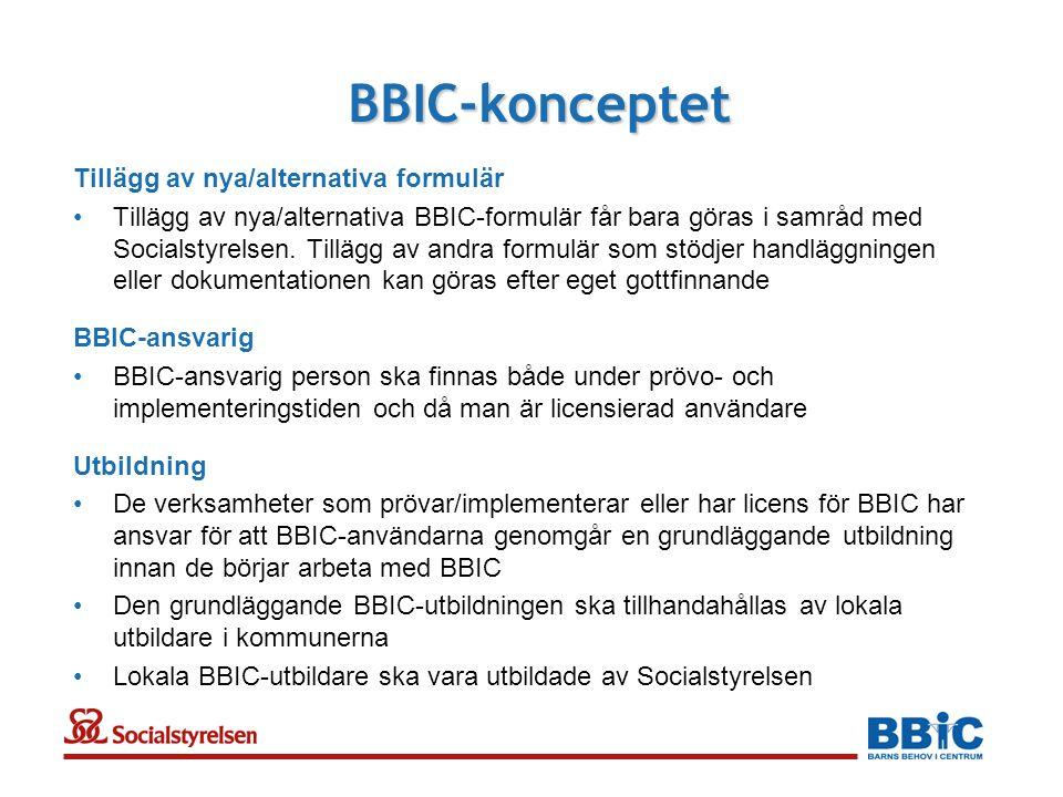 BBIC-konceptet Tillägg av nya/alternativa formulär •Tillägg av nya/alternativa BBIC-formulär får bara göras i samråd med Socialstyrelsen.