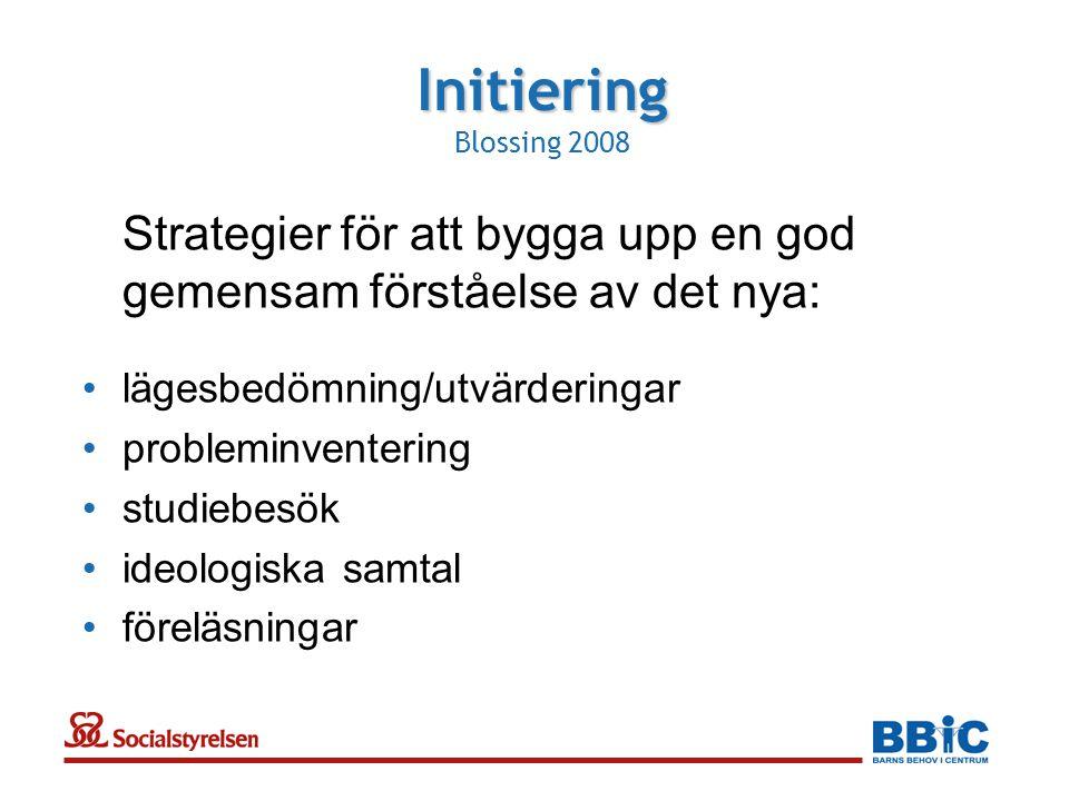 Strategier för att bygga upp en god gemensam förståelse av det nya: •lägesbedömning/utvärderingar •probleminventering •studiebesök •ideologiska samtal •föreläsningar Initiering Initiering Blossing 2008